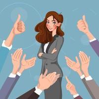 portrait de femme heureuse avec les pouces vers le haut et les mains humaines applaudissant isolé sur fond. pouces vers le haut des mains plates pour le réseau social, le blog et l'application. concept de célébration de fête. femme heureuse, illustration vectorielle vecteur