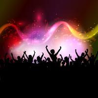 Public sur fond de notes de musique