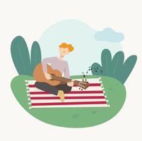 un homme est assis sur une couverture dans le parc et joue de la guitare. illustration vectorielle minimale de style design plat. vecteur
