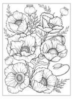 coloriage avec des coquelicots et des feuilles. page de vecteur à colorier. coloriage de fleurs. imprimé floral. contour des coquelicots. page noir et blanc pour cahier de coloriage. coloration anti-stress. fleurs d'art en ligne