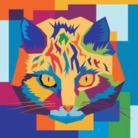 visage de chat wpap fond coloré vecteur