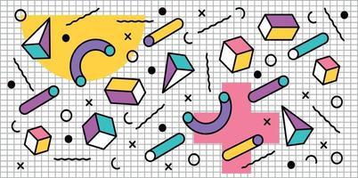 Formes pastels géométriques 3D en arrière-plan rétro vecteur