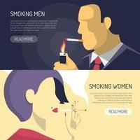 fumer hommes femmes 2 bannières vector illustration