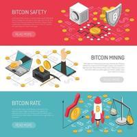 illustration vectorielle de bannières isométriques de sécurité taux bitcoin vecteur