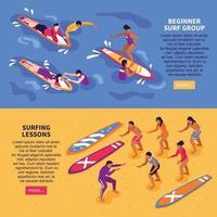 cours de surf bannières horizontales illustration vectorielle vecteur