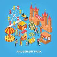 illustration vectorielle de parc d & # 39; attractions fond isométrique vecteur