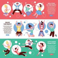Adolescent fête personnes bannières vector illustration