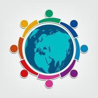 groupe de huit personnes logo dans un cercle de travail d'équipe de personnes tenant vecteur
