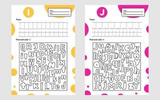 définir la feuille de calcul lettre trace a4 pour les enfants d'âge préscolaire et scolaire jeu pour les enfants trouver et colorier vecteur