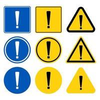 symbole de point d'exclamation, avertissement icône noire dangereuse sur fond blanc illustration vectorielle vecteur