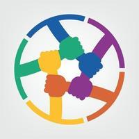concept de connexion des mains, groupe de poignée de maintien dans un cercle que les travailleurs du sommet se réunissent dans la même salle d'alimentation vecteur