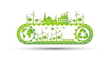 concept d'engrenage d'écologie et développement énergétique durable environnemental, illustration vectorielle vecteur