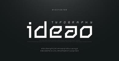 polices de l'alphabet urbain moderne abstraite. typographie sport technologie mode numérique futur créatif logo design carré police vecteur