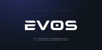 sport moderne futur police de l'alphabet italique. typographie polices de style urbain pour la technologie, numérique, style italique de logo de film. vecteur