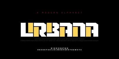 polices de l'alphabet urbain moderne abstraite. typographie sport simple technologie mode numérique futur créatif logo police vecteur