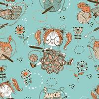 modèle sans couture sur le thème du tricot avec de jolies filles tricoteuses dans un style doodle. vecteur
