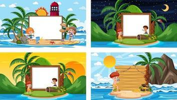 ensemble de différentes scènes de plage tropicale avec bannière vierge vecteur
