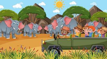 safari à la scène de jour avec de nombreux enfants regardant un groupe d'éléphants vecteur