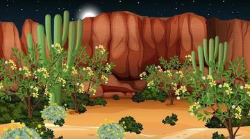 paysage de forêt du désert à la scène de nuit vecteur