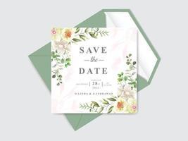beau jeu de cartes de mariage conception de magnolia vecteur