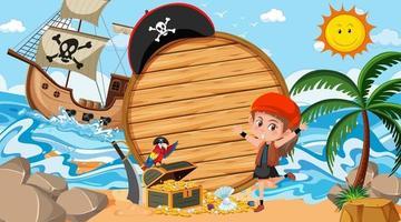 modèle de bannière en bois vide avec une fille pirate à la scène de jour de la plage vecteur