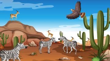 paysage de forêt du désert à la scène de jour avec des animaux willd vecteur