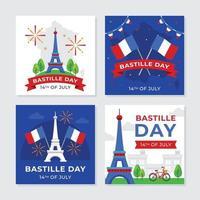 carte de voeux de célébration du jour de la bastille vecteur