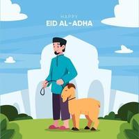 célébration de l'Aïd al-adha au design plat vecteur