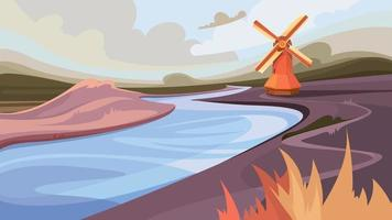 moulin au bord de la rivière vecteur