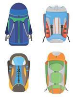 ensemble de sacs à dos de camping vecteur