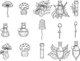 ensemble de potions et champignons dessinés à la main vecteur