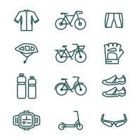 collection d'icônes de cyclisme vecteur