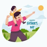 bonne fête des pères avec fête de fils vecteur
