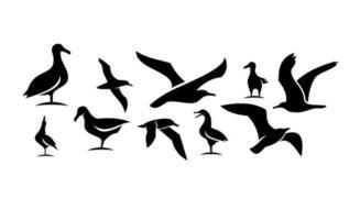 ensemble, collection, de, mouette, noir, vecteur, icône, conception, illustration vecteur