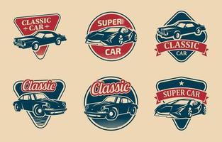 collection de logo de voiture rétro vecteur