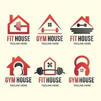 ensemble de logo de gym à domicile vecteur
