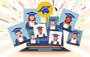 concept de cérémonie de remise des diplômes virtuelle vecteur