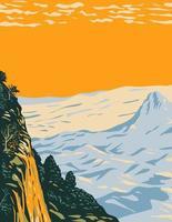 le paysage désertique de chihuahuan dans le parc national de big bend couvrant l'ouest du texas bordant le mexique wpa poster art vecteur