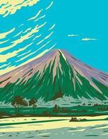Mauna loa dans le parc national des volcans d'Hawaï l'un des cinq volcans qui forment l'île d'Hawaï wpa poster art vecteur