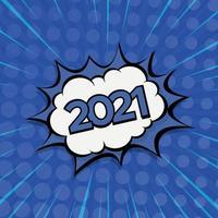 zoom comique coloré nouvel an 2021-illustration vectorielle vecteur