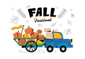 Hayrides transportant des citrouilles vecteur fond plat festival d'automne