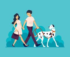 Couple, marche, chien, illustration