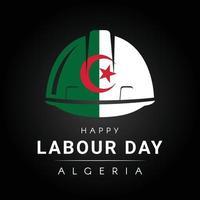 bonne fête du travail avec casque drapeau algérien imprimé vecteur