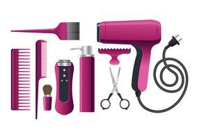 Bel équipement de salon pour coiffeur vecteur
