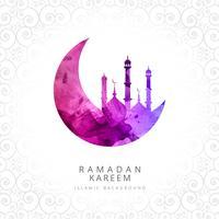 Carte élégante Ramadan Kareem avec fond décoratif mosquée