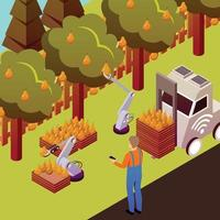 illustration vectorielle de fond robotisé collection de fruits vecteur