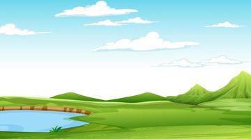 Paysage de parc naturel vierge à la scène de jour avec de nombreux nuages dans le ciel vecteur