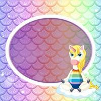 modèle de cadre ovale sur fond d'écailles de poisson arc-en-ciel pastel avec personnage de dessin animé mignon licorne vecteur