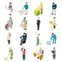 illustration vectorielle de serviteur domestique icônes isométriques vecteur