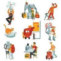 robots androïdes mis en illustration vectorielle vecteur